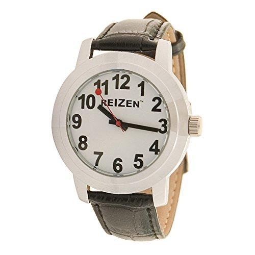 Reizen Low Vision Quartz Watch - White Face - Leather Band - Unisex