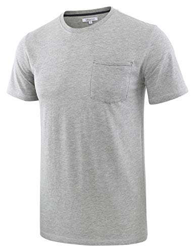 - Vetemin Mens Classic Soft Short Sleeve Crew Neck Jersey Pocket Knit T-Shirt Tee Heather Gray L