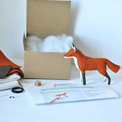 DIY Felt Fox Caft Sewing Kit - Sew Your Own Stuffed Animal Woodland Fox Toy Sewing Pattern and Feltie Kit from DelilahIris