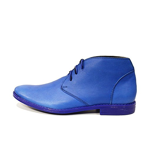 Modello Neemia - Cuero Italiano Hecho A Mano Hombre Piel Azul Chukka Botas Botines - Cuero Cuero suave - Encaje