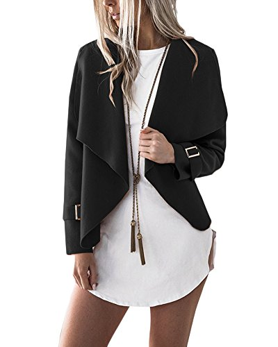 Jacket Nero Giacca Cappotto Casual Tops Manica Outwear Breve Corto Lunga Blazer Cardigan Donna PHqX7H