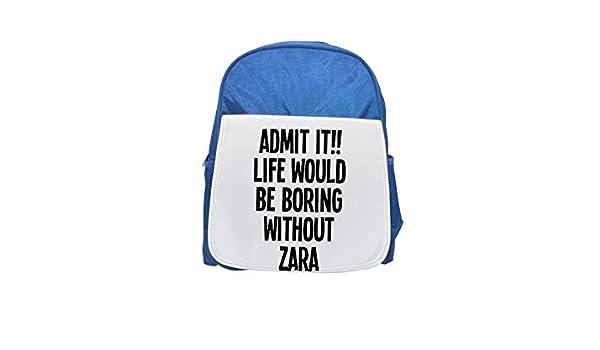 Vida sería aburrido sin Zara impreso Kid s azul mochila, para mochilas, cute small Mochilas, cute negro mochila, Cool mochila negra, moda mochilas, ...