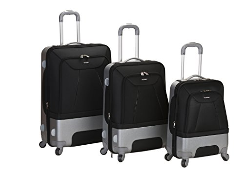 Rockland Luggage Rome Polycarbonate 3 Piece Luggage Set, Black, One Size - Polycarbonate 3 Piece
