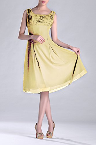 Pleated the Brides Length Occasion Special Mother of Dress Knee Formal Bridesmaid Daffodil p0wIxUqx