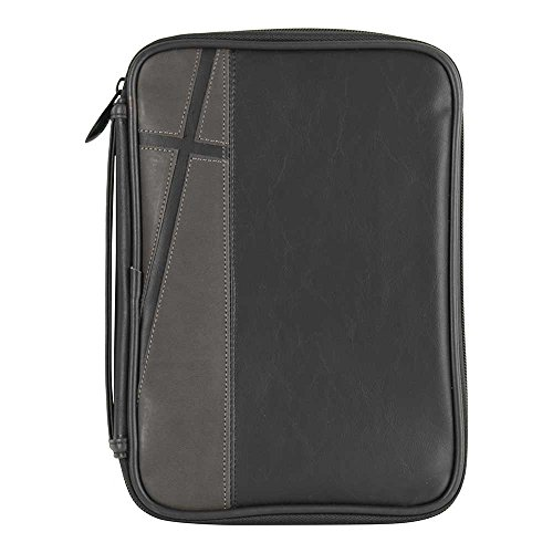 Black and Gray Faithful Leather Look Thinline Bible Cover Case with Handle
