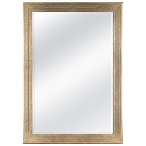 MCS 24×36 Inch Ridged Mirror, 29×41 Inch Overall Size, Gold 20585