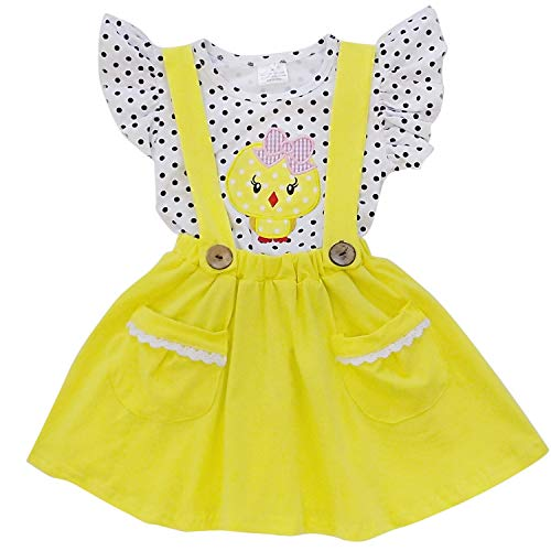 So Sydney Suspender & Skirt 2 Piece Outfit, Girls Toddler Spring Easter Holiday Dress Up Boutique Outfit Clothes (8 (XXXL), Chick Yellow Polka Dot)