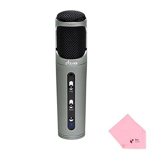 Idol K8 Karaoke Condenser Microphone | Wired | Echo & Volume Control Button (Grey)
