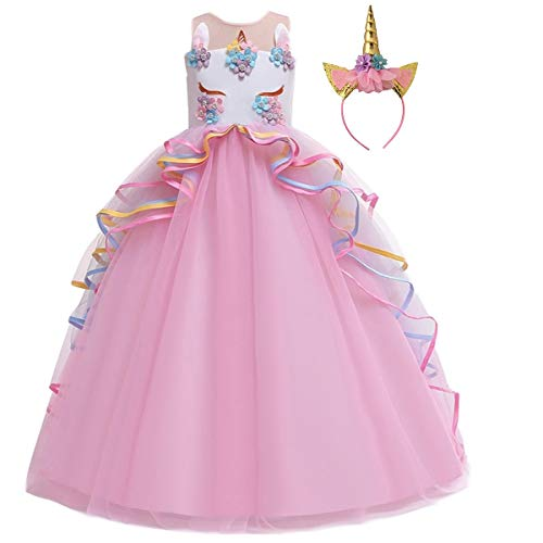HIHCBF Girls Unicorn Costume Pageant Princess Party Dress Wedding Birthday Halloween Carnival Long Maxi Gown w/Headband Pink 14-15T