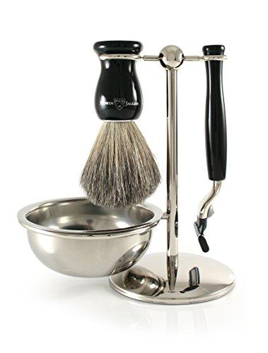 Edwin Jagger Shaving Gift Set - Pure Badger Shaving Brush, Gillette Mach 3 Razor, Shaving Bowl & Stand, Imitation Ebony