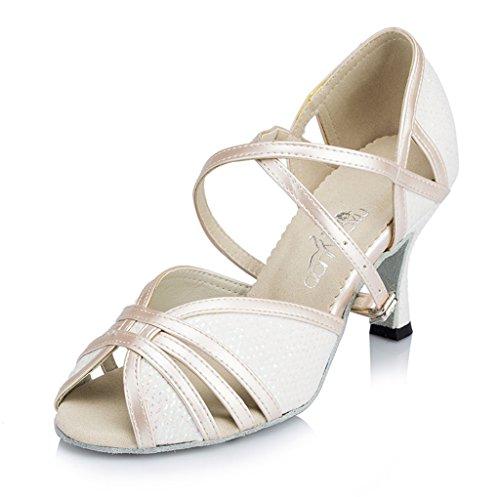 Crc Donna Elegante Peep Toe Tacco Alto Sintetico Salsa Sala Da Ballo Morden Salsa Latino Tango Partito Da Sposa Professionale Sandali Da Ballo Bianco