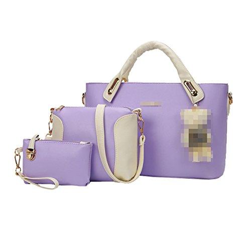 Lady Fashion 3 Piezas Conjuntos Pu Bolso De Cuero Bolso De Mano Satchel Monedero Crossbody Bolsas Para Mujeres Multicolor Purple