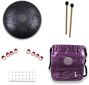 WUYOU Tongue Drum-100% Steel-intangible sound-YOGA Tea Ceremony-10inch pentatonic with 2 mallets and one bag (black)