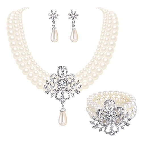 EleQueen Women's Silver-Tone Simulated Pearl Crystal Victorian Style Flower Bridal Necklace Earrings Bracelet Set Ivory Color ()