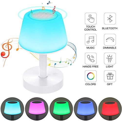 Lampe de Chevet, Contrôle Tactile, Enceinte Bluetooth V4.2, Lampe de Table Rechargeable, Mains Libres, Luminosité Réglable, Couleurs de Changement pour Enfant Bébé Chambre Jardin Tikitaka