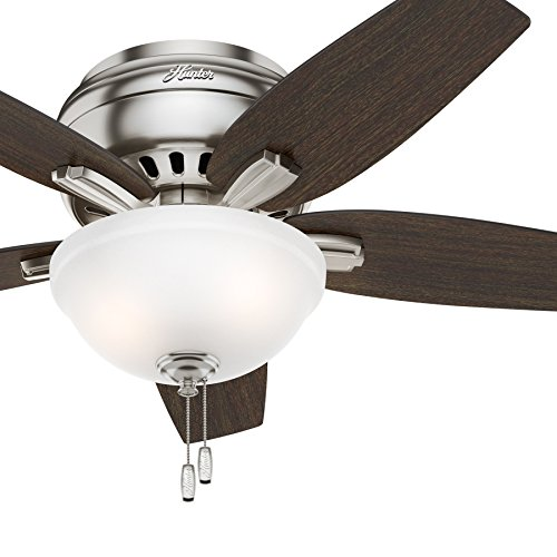 Hunter Fan 42 Hugger Ceiling Fan in Brushed Nickel with Cased White Glass Light Kit, 5 Blade Renewed