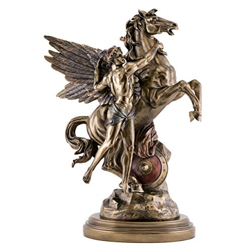 Perseus Collection - Top Collection Large Perseus and Pegasus Antique Replica Statue- Emile Louis Picault Sculpture in Premium Cold Cast Bronze- 16-Inch Museum Grade Greek Flying Horse Figurine