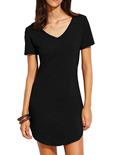 [Haola Women's Summer Short Sleee Slim Fit Shirts Mini Dresses Juniors Dress Top M Black] (Womens Black Sequin Short Dress)