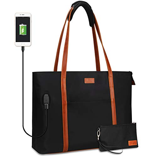 Laptop Tote Bag for Women Teacher Work Office USB Bags Fits 15.6 inches Laptop (Black Brown Strap)