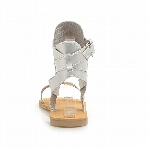 Mee Shoes Women's Chic Flat Sandals Silver PZfYM
