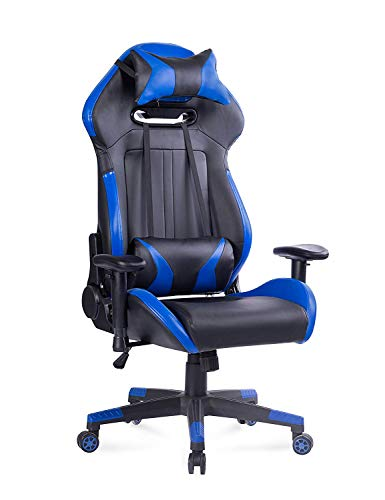 Blue Whale Gaming Chair High Back PC Game Chair Executive Office Chair Racing-Style Computer Chair Reclining Desk Chair Headrest and Lumbar Support(Blue) Zhuji Import & Export Trading Co., Ltd.