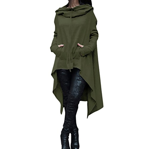 Zhhlaixing Solid Women Hooded Sweater Green Irregular Long Shirt popolare Tops Color Special Plus Hem Multicolor Design Moda rqwrPHf