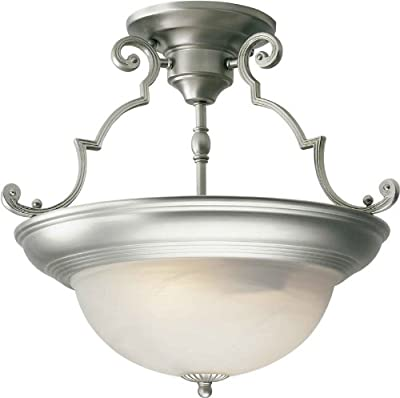 Forte Lighting 2298-02 Semi-Flush Ceiling Fixture from the Close to Ceiling Coll, Brushed Nickel
