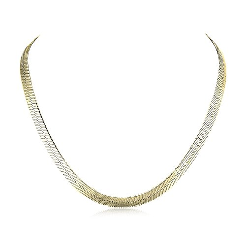 Devin Rose 16 or 18 Herringbone Chain Necklace for Women in Yellow Gold or Rhodium Over Brass