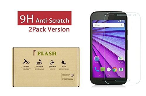 iFlash 2 Pack of Tempered Glass Screen Protector For Motorola Moto G3/XT1541 (MOTO G 3rd Generation 2015) - 100% Scratch Proof & Bubble Free - 99.99% Clarity & Touchscreen Accuracy (2Pack, Retail)