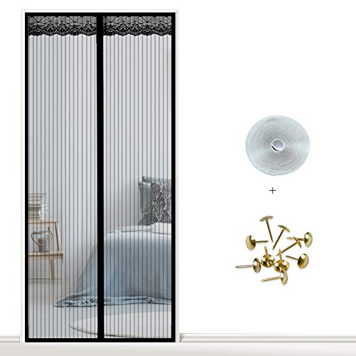 FOTEE Magnet Screen Door Curtain, Durable Mesh Curtain Hands Free Pet and Kid Friendly,Black_36x96in/90x240CM ()