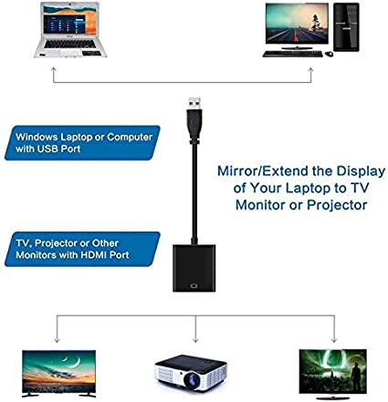 Male to Female USB to HDMI Adapter,USB 3.0 to HDMI Adapter 1080P HD Audio Video Cable Converter,Video and Audio Multi-Display Converter Compatible with Windows 10//8.1//8//7