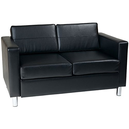 AVE SIX Pacific Vinyl Loveseat with Spring Seats and Silver Metal Legs, Black (Leather Faux Reception)