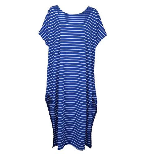Foil Ladies T-shirt - T Shirt Dresses For Women Casual Loose Round Neck Batwing Sleeve Striped Lrregular Dress By Sagton (Blue,S)