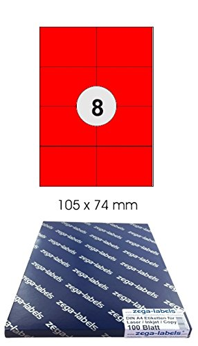 4.000 Etiketten 105 x 70 mm auf 500 DIN A4 Bögen 2x4 Etiketten Laser//Inkjet