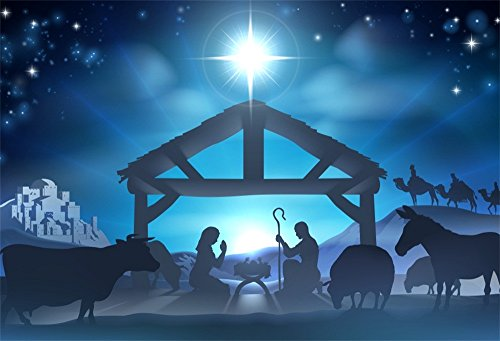 LFEEY 10x8ft Birth of Jesus Backdrop Christmas Night Manger Nativity Scene Silhouette Background Farm Barn Stable Christianity Photography Prop Studio Photo Booth Props (Nativity Backdrop)
