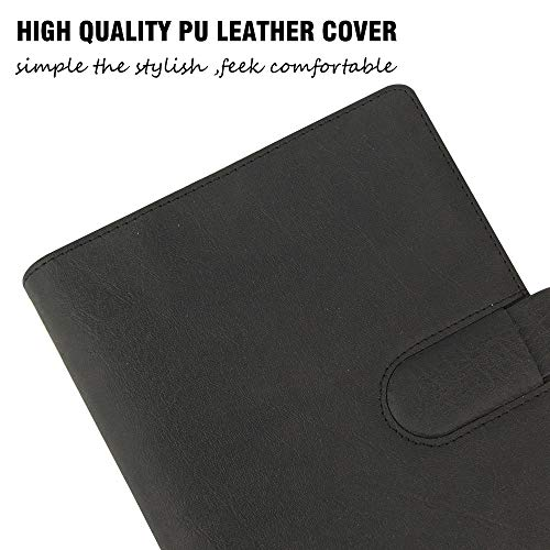 Fashion PU Writing Notebook a5 6-ring binder/planner refill Black Leather  Pen Holder Notebook Buckle Loose Leaf Refillable Leather Journal A5 Filler
