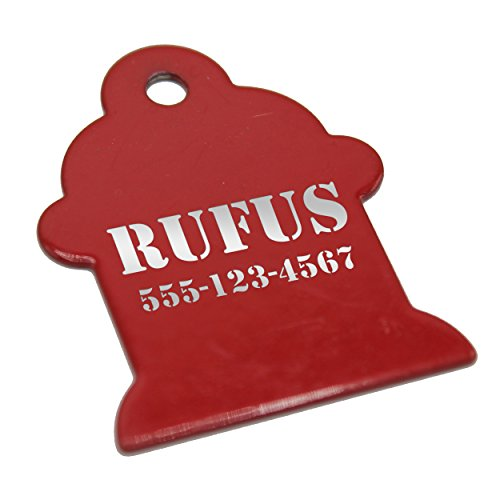 Custom Engraved Pet ID Collar Tag - Personalized Identification Tags for Dogs, Cats, Pets - Monogrammed for Free (Red, Fire Hydrant - 1.75