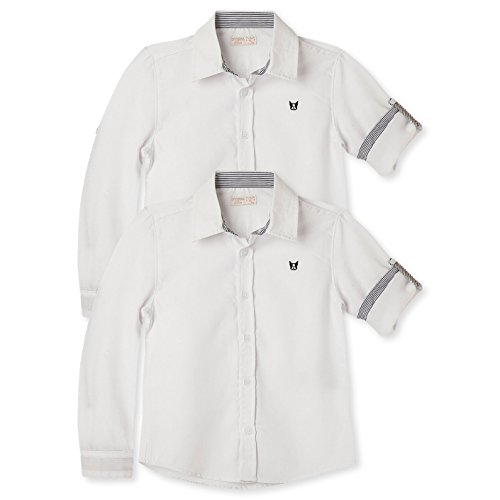 e62464de4 OFFCORSS Toddler Boy Little Kid Long Sleeve Button Down Collared Solid  Color Dressy Cotton Fit Slim