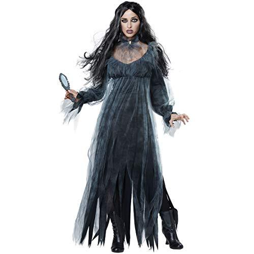 Halloween female ghost bride costume, big size vampire zombie demon stage costume,XL]()