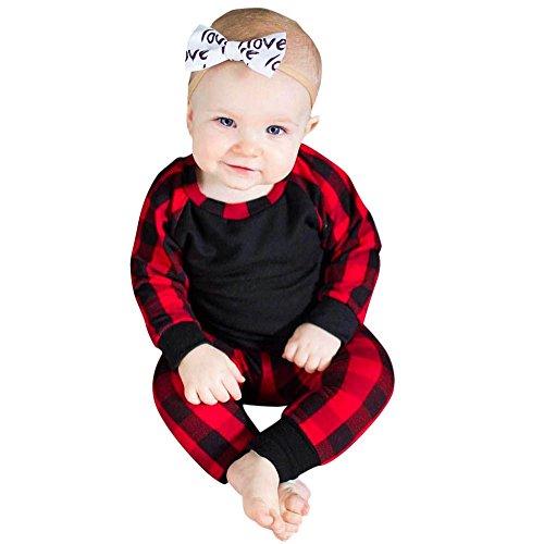 Wenjuan Long Sleeve Plaid Pocket Top T-Shirt+Pants Outfits Set Children's Wear for Newborn Infant Baby Boys Girls (12M)