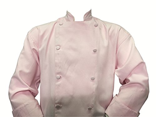 Chefskin Soft Pink Chef Jacket Coat Cool Soft Twill Fabric Beautiful + Hat (XL-54 in chest)