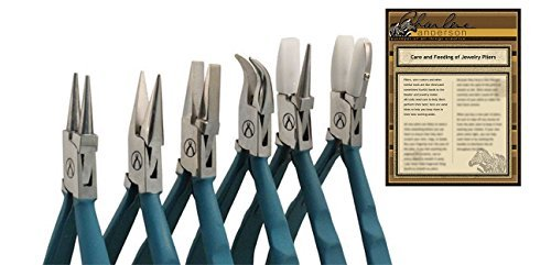 Wubbers ProLine Pliers, Set containing Chain Nose, Flat Nose, Round Nose, Bent Nose, Nylon Flat Nose and Nylon Round and Flat Nose Pliers with Plier Care Article by Charlene Anderson by Wubbers (Image #1)