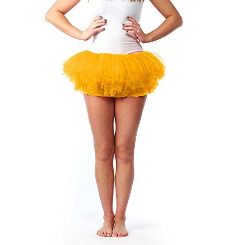 Witch Adult Costume Ballerina (My Lello Women's Teen Adult 10 Layered Fluffy Ballet Tulle Tutu Skirt -Yellow Gold)