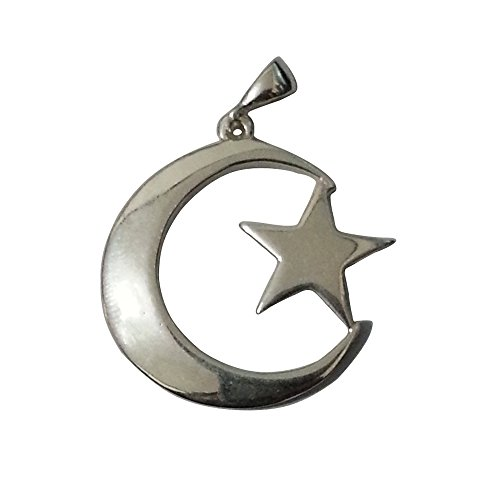 MuslimJewelry Small Sterling Silver Islamic Symbol Crescent Moon & Star Pendant w/Free Waxed Cotton Cord