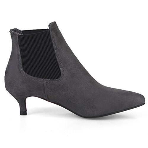 Toe QZUnique Panel Heel Gray Elastic Ankle Low Boots Pointy Stilettos with Slip Women Martin Booties qArwCA