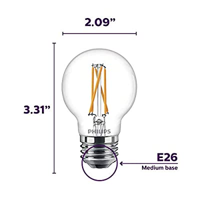 Philips LED Dimmable G16.5 Clear Filament Glass Light Bulb with Warm Glow Effect