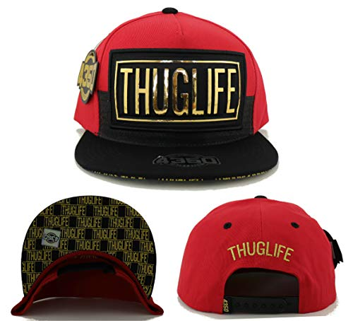 (Tupac 2pac New Leader 4350 District Red Black Gold Leather Thug Life Stacked Era Snapback Hat Cap)