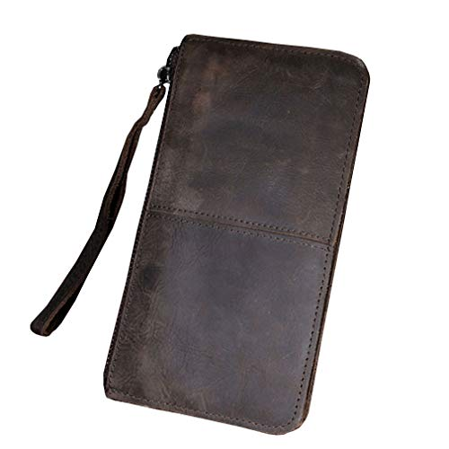 Leather Wallet Money Organizer - Vintage Leather Long Wallet Clutch Purse for Men Phone Organizer Holder Wrist Bag Day Pack Coin Money Checkbook Rodeo Wallets
