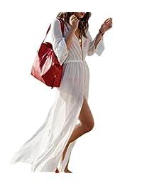 Yonala Womens Chiffon Side Split Maxi Beach Dress Bikini Swimsuit Cover Up