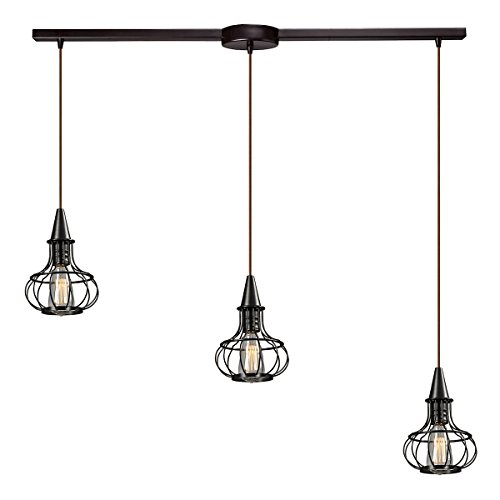 Elk Lighting 14191/3L Yardley Collection 3 Light Chandelier, 36″ x 36″ x 11″, Oil Rubbed Bronze Review